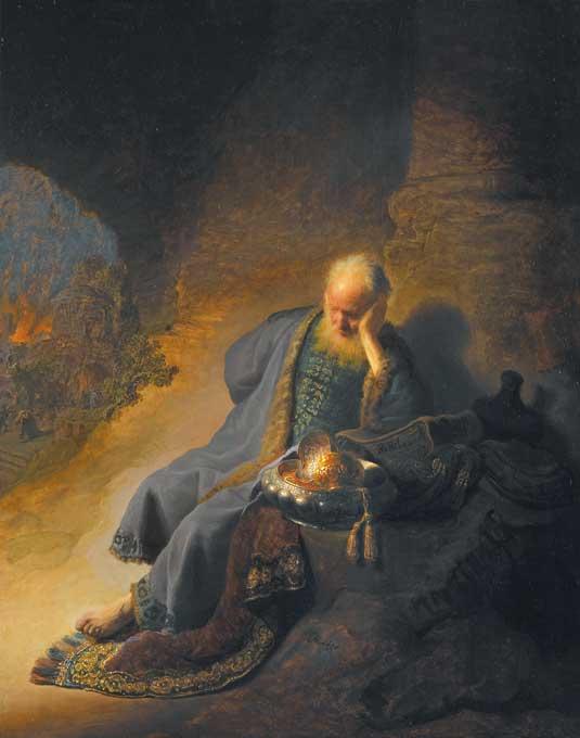 レンブラント・ファン・レイン「エルサレムの破壊を嘆くエレミヤ」